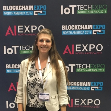 Ashley attending the innovative Blockchain and IOT Expo 2017